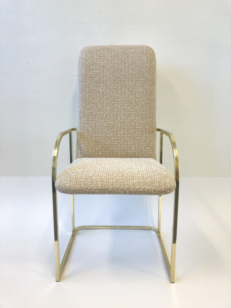 Set of Six Brass High Back Dining Chairs by DIA For Sale 1