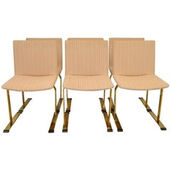 Set of Six Brass Italian Chairs Designed by Giovanni Offredi for Saporiti