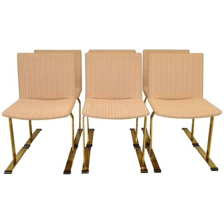 Set of Six Brass Italian Chairs Designed by Giovanni Offredi for Saporiti For Sale