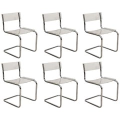 Set of Six Breuer Style Lucite and Chrome Side Chairs