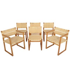 Set of Six Børge Mogensen Oak and Cane Dining Chairs