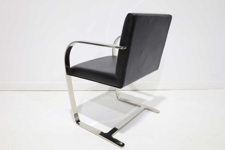 Set of Six Brno Chairs in Black Faux Leather In Good Condition For Sale In Dallas, TX