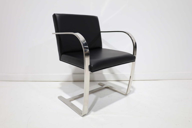 Stainless Steel Set of Six Brno Chairs in Black Faux Leather For Sale