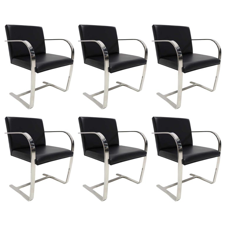 Set of Six Brno Chairs in Black Faux Leather For Sale