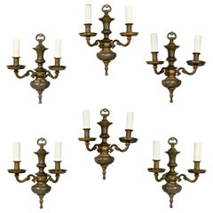 Set of Six Bronze Wall Sconces Attributed to Caldwell