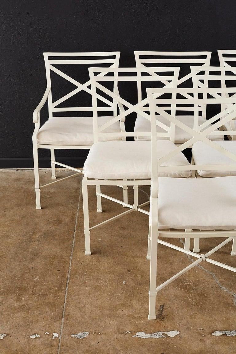 Neoclassical Set of Six Brown Jordan Aluminium Patio Garden Chairs For Sale