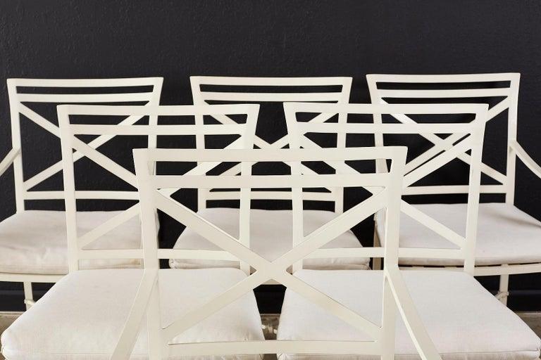 American Set of Six Brown Jordan Aluminium Patio Garden Chairs For Sale