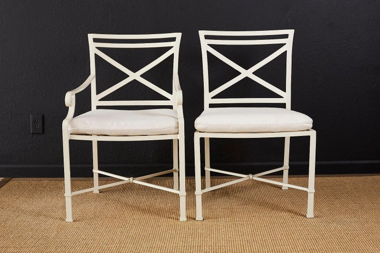 Powder-Coated Set of Six Brown Jordan Aluminium Patio Garden Chairs For Sale