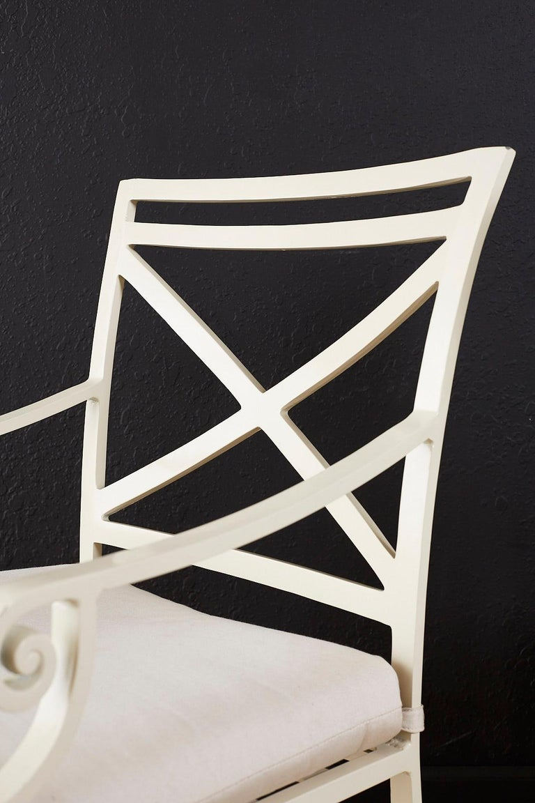 Fabric Set of Six Brown Jordan Aluminium Patio Garden Chairs For Sale