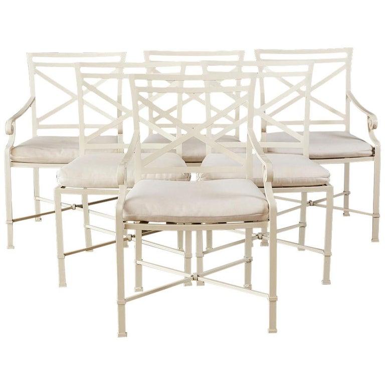 Set of Six Brown Jordan Aluminium Patio Garden Chairs For Sale