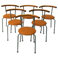 Set of Six Brown Leather Seat Dining Stools by Jerry Hellström, Sweden, 1988