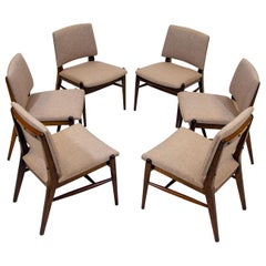 Set of Six Brown Saltman Dining Chairs by John Keal