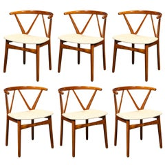"Set of Six Bruno Hansen ""Wishbone"" Chairs in Teak w/ Champagne Holly Hunt Fabric"