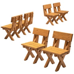 Set of Six Brutalist Chairs in Solid Pine