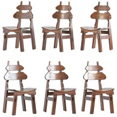 Set of Six Brutalist Dining Chairs in Solid Oak, Spain, 1970s