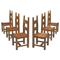 Set of Six Brutalist Dining Chairs with Leather Seat