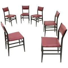 """Set of Six Burgundy """"Leggera"""" Chairs by Gio Ponti for Cassina, Italy, 1950s"""