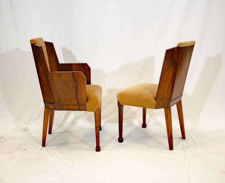 Set of Six Burl Walnut French Art Deco Dining Chairs For Sale 6