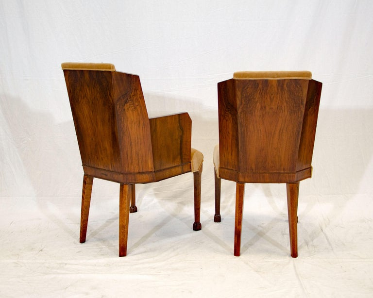 Set of Six Burl Walnut French Art Deco Dining Chairs For Sale 7