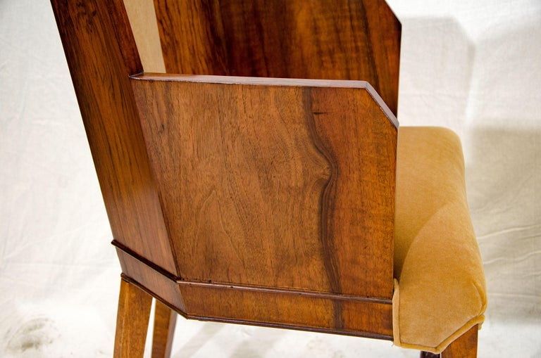 Set of Six Burl Walnut French Art Deco Dining Chairs For Sale 8