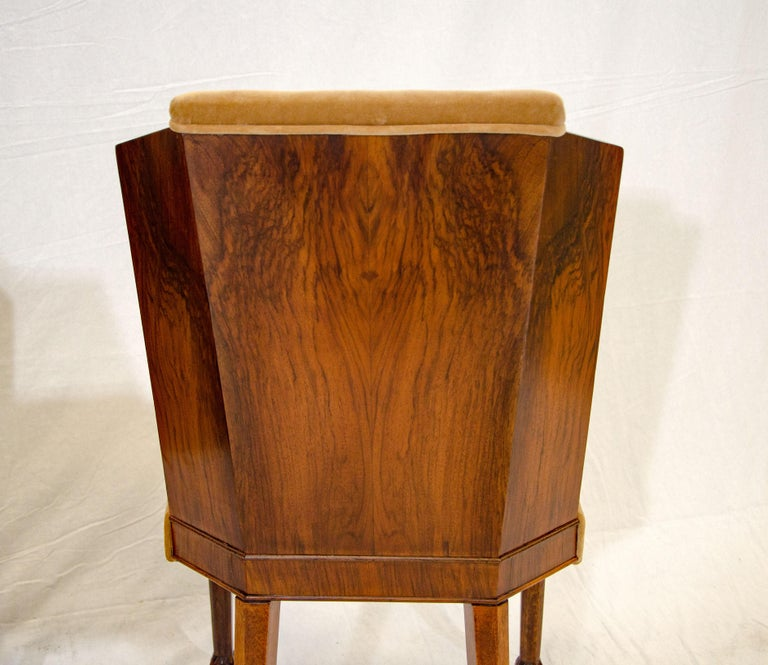 Set of Six Burl Walnut French Art Deco Dining Chairs For Sale 9