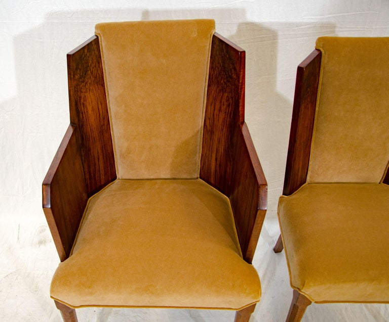 Set of Six Burl Walnut French Art Deco Dining Chairs For Sale 10