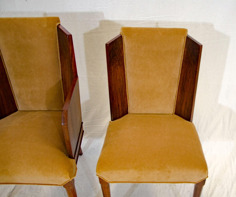 Set of Six Burl Walnut French Art Deco Dining Chairs For Sale 11