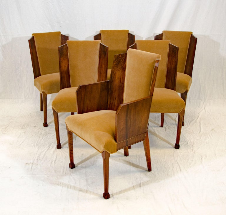 Set of Six Burl Walnut French Art Deco Dining Chairs In Good Condition For Sale In Crockett, CA