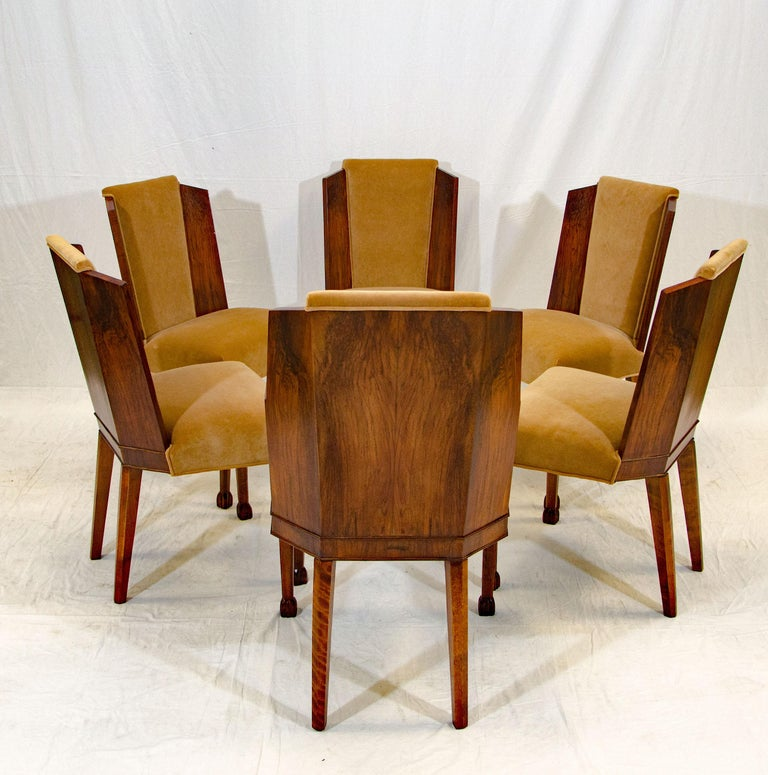 20th Century Set of Six Burl Walnut French Art Deco Dining Chairs For Sale