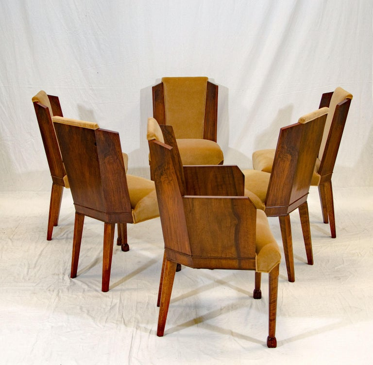 Set of Six Burl Walnut French Art Deco Dining Chairs For Sale 1