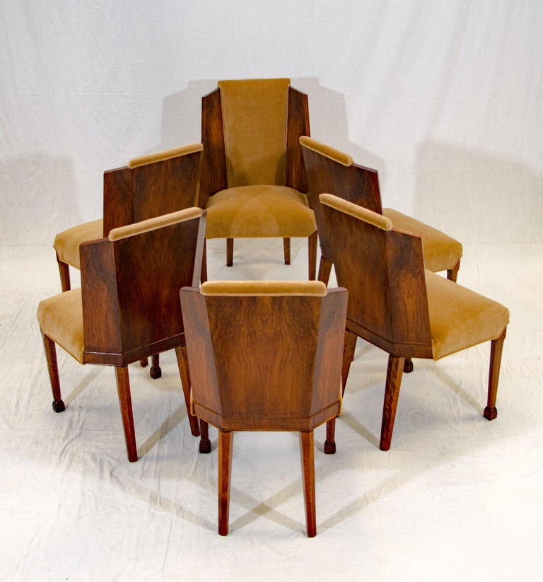 Set of Six Burl Walnut French Art Deco Dining Chairs For Sale 2