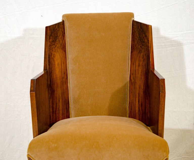 Set of Six Burl Walnut French Art Deco Dining Chairs For Sale 3