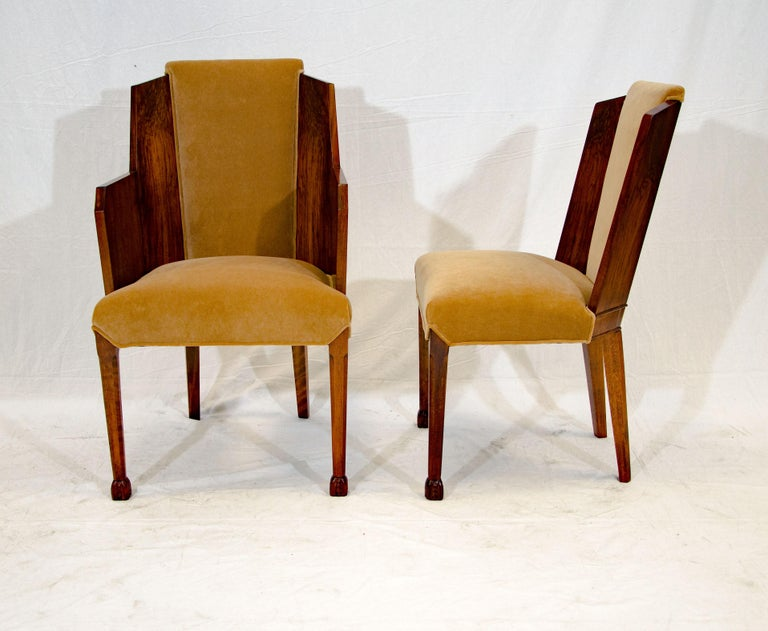 Set of Six Burl Walnut French Art Deco Dining Chairs For Sale 4