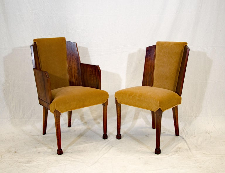Set of Six Burl Walnut French Art Deco Dining Chairs For Sale 5