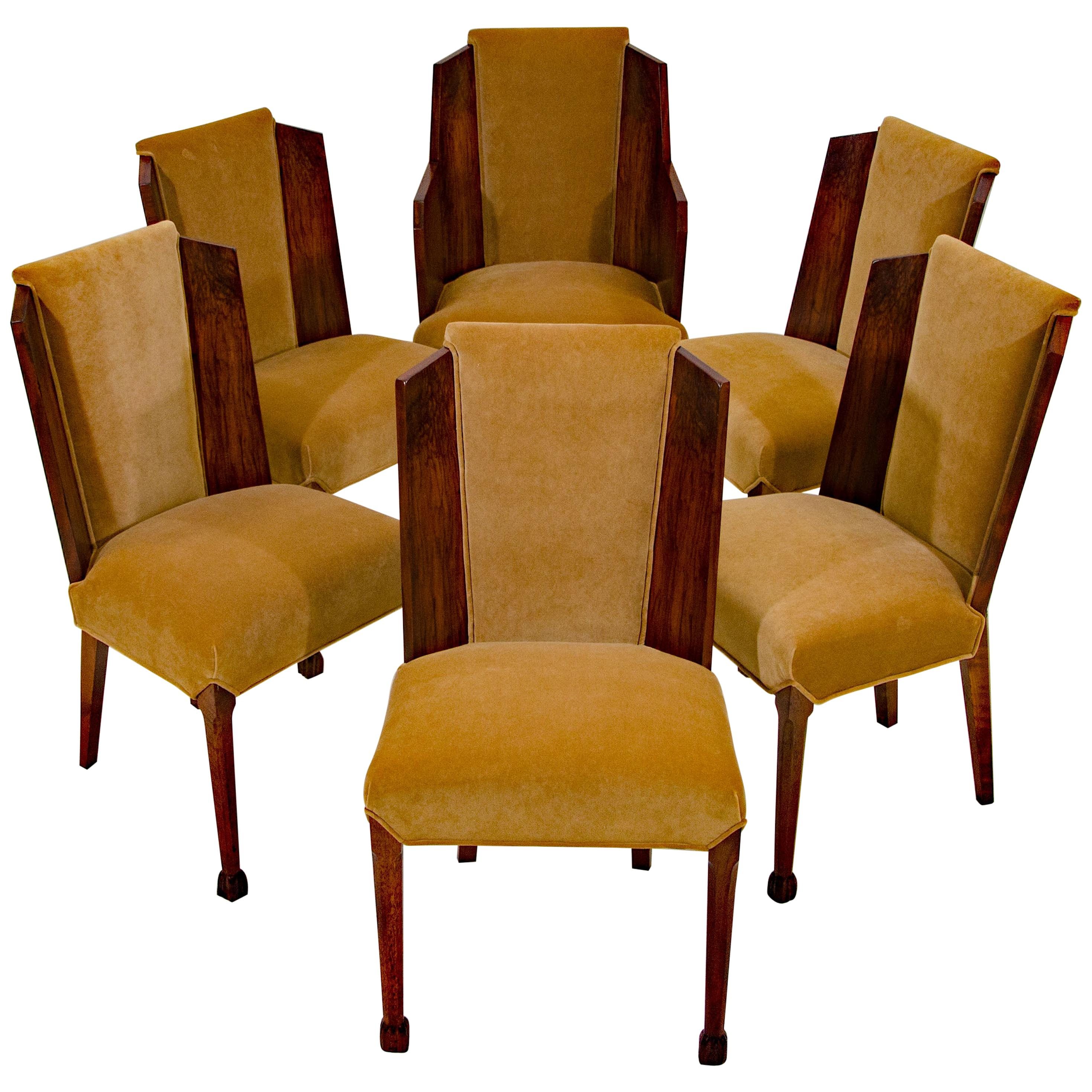 Set of Six Burl Walnut French Art Deco Dining Chairs