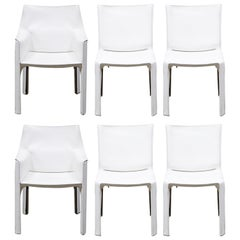 Set of Six 'Cab' Dining Chairs by Mario Bellini for Cassina, Signed