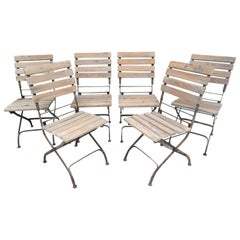 Set of Six Cafe Bistro Folding Outdoor Dining Chairs Iron & Wood