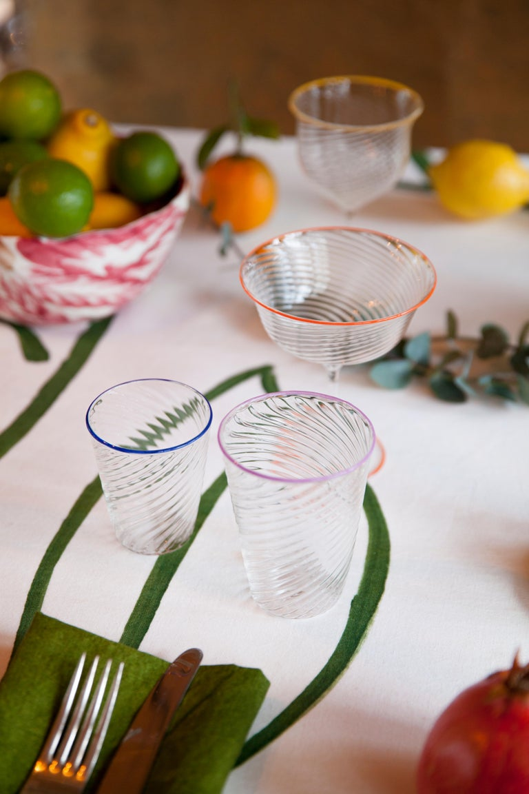 Italian Set of Six Campbell-Rey Cosima Murano Wine Glasses For Sale