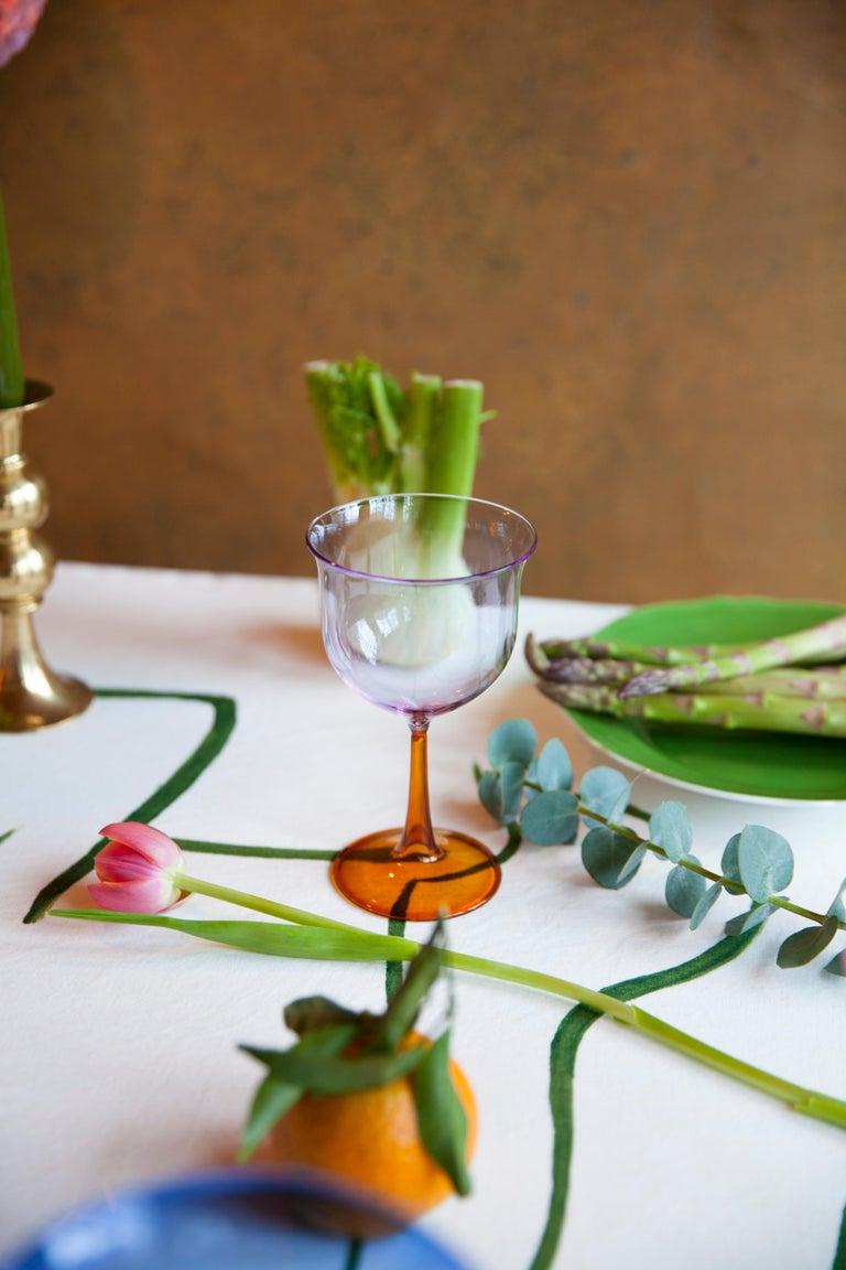 Italian Set of Six Campbell-Rey Cosimo Murano Wine Glasses For Sale