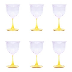 Set of Six Campbell-Rey Cosimo Murano Wine Glasses