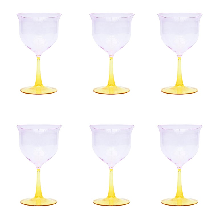 Set of Six Campbell-Rey Cosimo Murano Wine Glasses For Sale