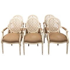 Set of Six Caned and Upholstered Dining Chairs