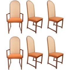 Set of Six Caned Back Dining Chairs by Milo Baughman