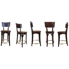 Set of Six Caned Seat and Wood Back Bar Stools
