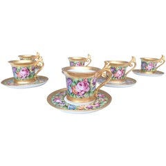 Set of Six Capodimonte Porcelain Tea /Coffee Cups with Floral Motifs, Italy 1950