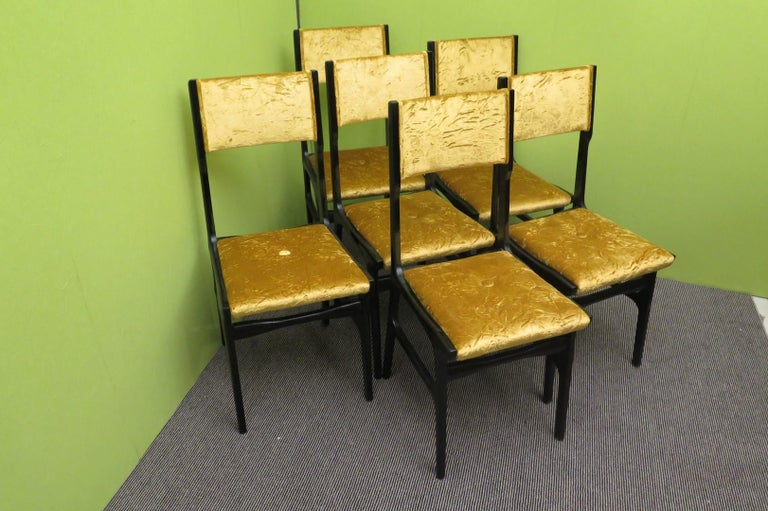 Set of Six Carlo de Carli Attributed Italian Midcentury Chairs, 1955 For Sale 4