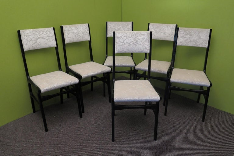 Set of Six Carlo de Carli Attributed Italian Midcentury Chairs, 1955 For Sale 5
