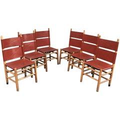 Set of Six Carlo Scarpa Kentucky Chairs, Italy, 1970s