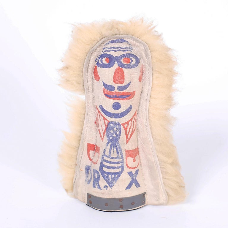 Set of six vintage folk art carnival knockdown dolls crafted in canvas, hand painted on both sides, trimmed with cotton fur and weighted at the bottom. Knock them all down and win any prize in the booth.