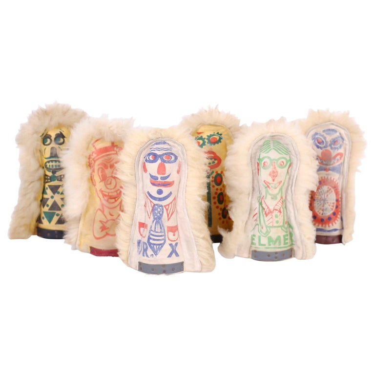 Set of Six Carnival Knockdown Dolls For Sale